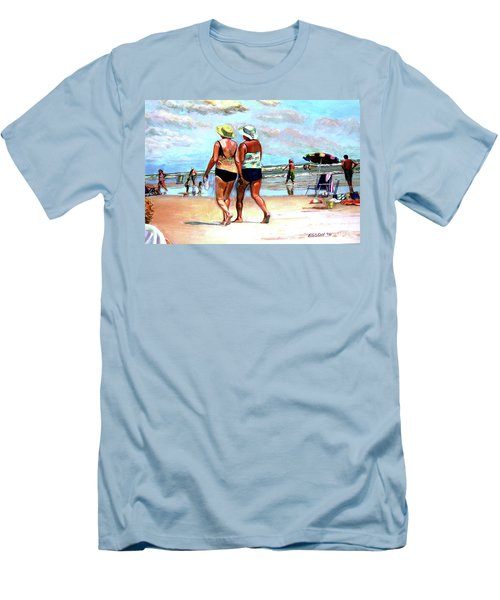 Men's T-Shirt (Slim Fit) featuring the painting Two Women Walking On The Beach by Stan Esson