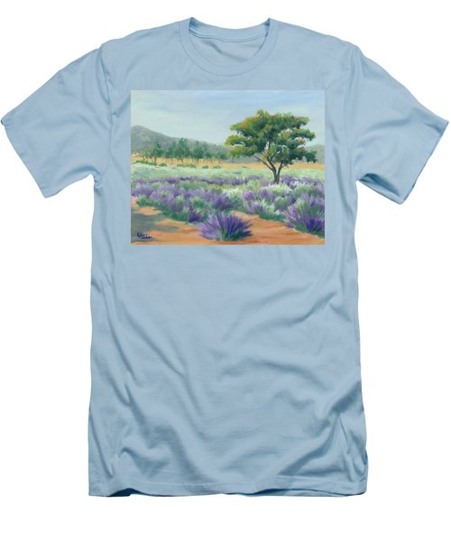 Under Blue Skies In Lavender Fields Men's T-Shirt (Slim Fit) by Sandy Fisher