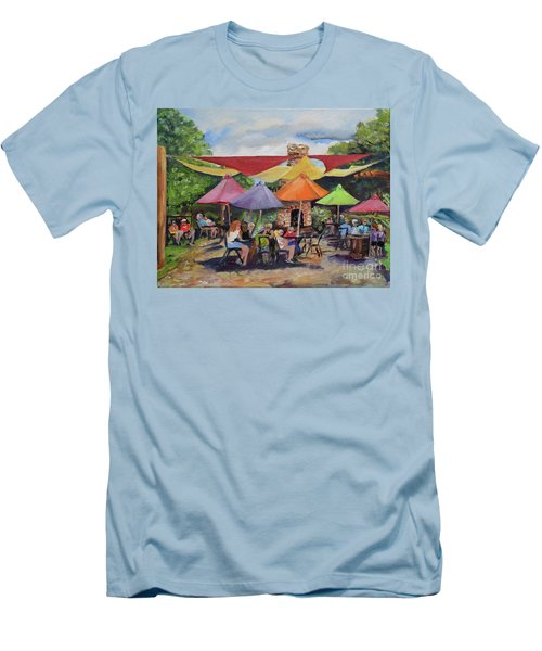 Men's T-Shirt (Athletic Fit) featuring the painting Under The Umbrellas At The Cartecay Vineyard - Crush Festival  by Jan Dappen