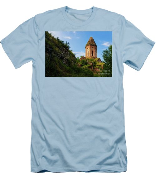 Unique Kirants Monastery On A Sunny Day, Armenia Men's T-Shirt (Slim Fit) by Gurgen Bakhshetsyan