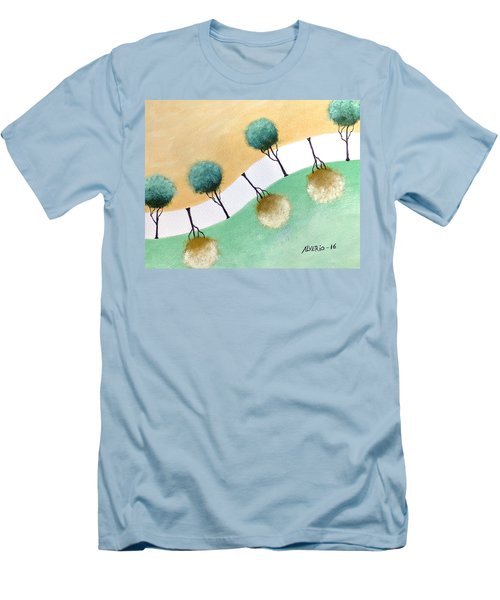 Men's T-Shirt (Slim Fit) featuring the painting Upside Down by Edwin Alverio