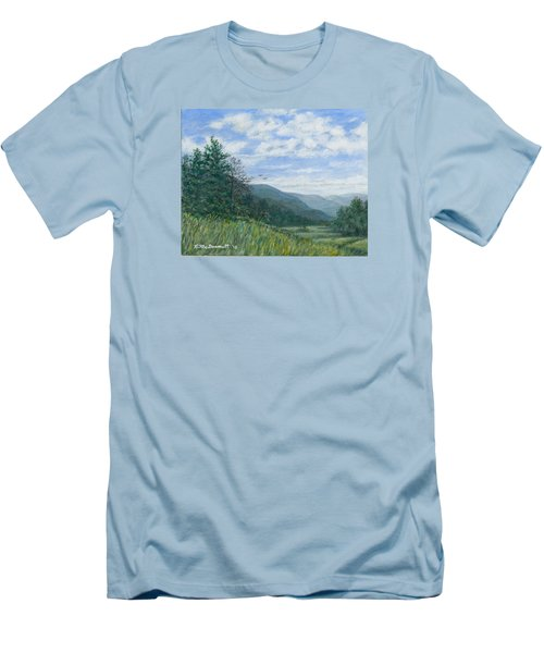 Men's T-Shirt (Slim Fit) featuring the painting Valley View by Kathleen McDermott