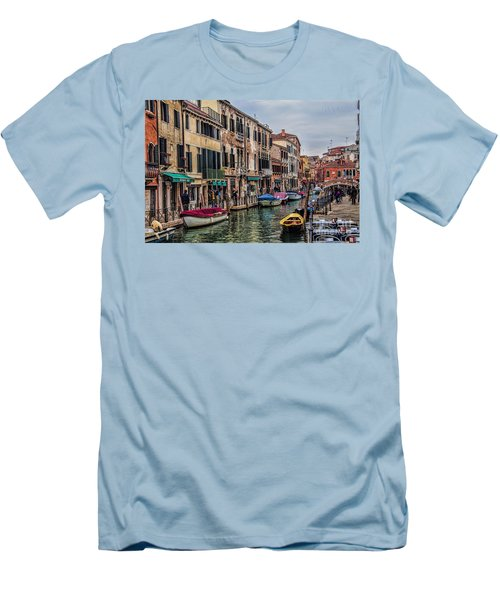 Men's T-Shirt (Slim Fit) featuring the photograph Venice Street Scenes by Shirley Mangini