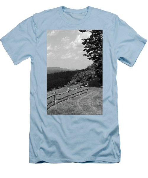 Men's T-Shirt (Slim Fit) featuring the photograph Vermont Countryside 2006 Bw by Frank Romeo