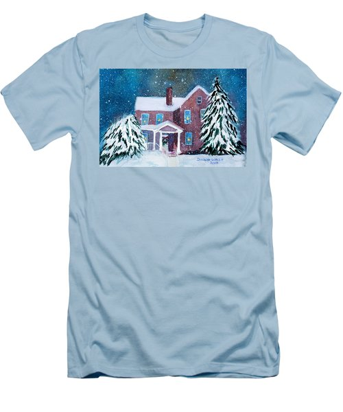 Men's T-Shirt (Slim Fit) featuring the painting Vermont Studio Center In Winter by Donna Walsh