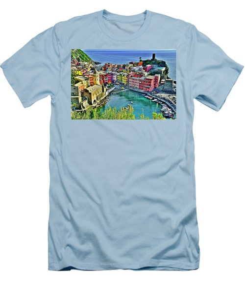 Vernazza Alight Men's T-Shirt (Slim Fit) by Frozen in Time Fine Art Photography