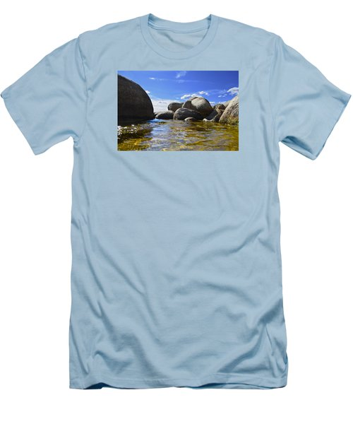 Men's T-Shirt (Slim Fit) featuring the photograph View From The Water Of Lake Tahoe by Alex King
