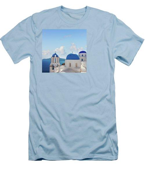 Caldera  Of Santorini Men's T-Shirt (Slim Fit) by Anastasy Yarmolovich