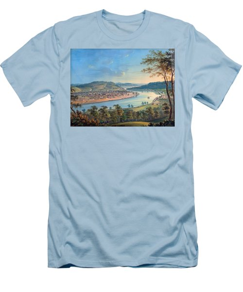 Men's T-Shirt (Slim Fit) featuring the painting View Of Cincinnati From Covington by John Caspar Wild