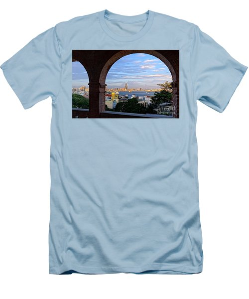 Men's T-Shirt (Slim Fit) featuring the photograph View Of Kaohsiung City At Sunset Time by Yali Shi
