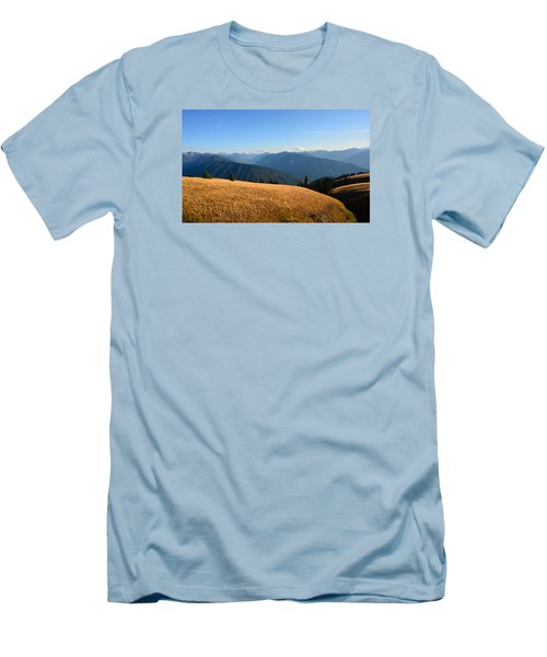 Men's T-Shirt (Slim Fit) featuring the photograph View Of Olympics From Hurricane Ridge by Ronda Broatch