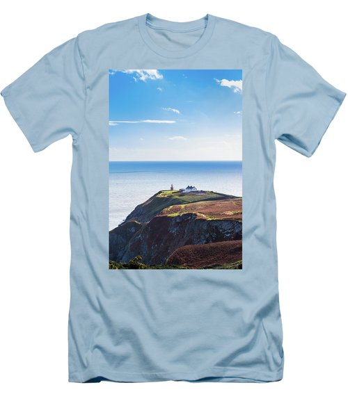 Men's T-Shirt (Slim Fit) featuring the photograph View Of The Trails On Howth Cliffs With The Lighthouse In Irelan by Semmick Photo