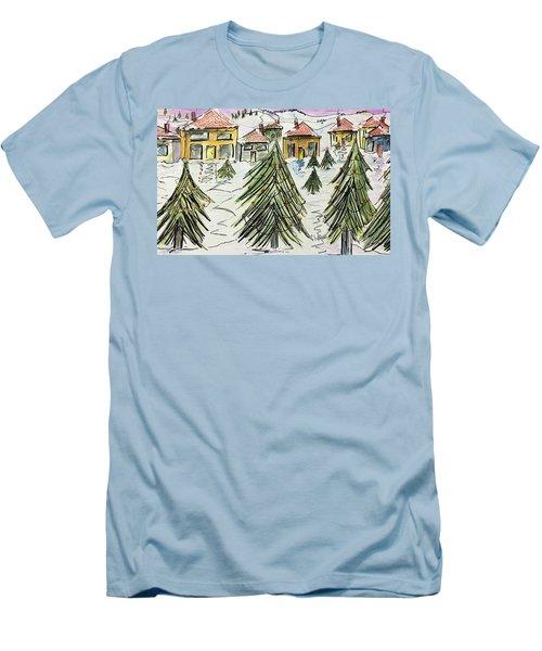 Village Winter Wonderland Men's T-Shirt (Athletic Fit)