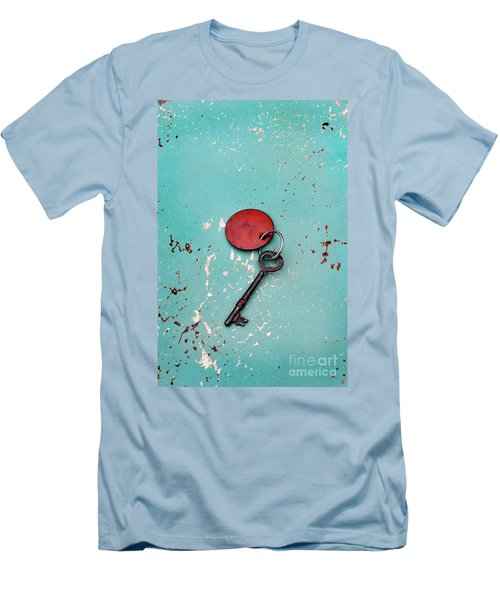 Men's T-Shirt (Slim Fit) featuring the photograph Vintage Key With Red Tag by Jill Battaglia