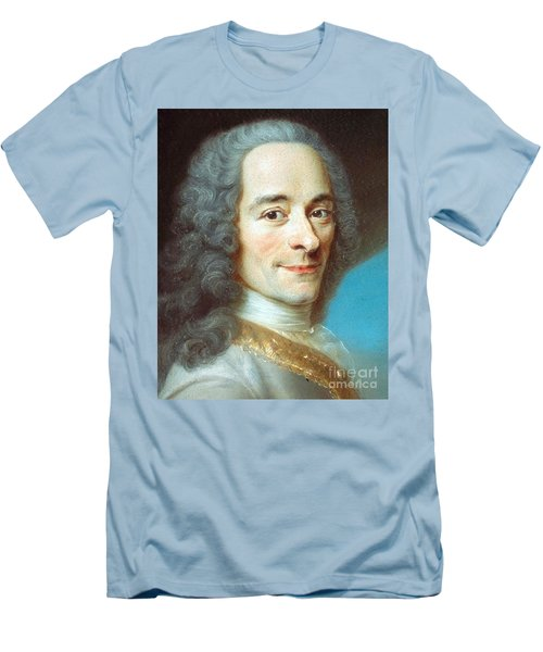 Men's T-Shirt (Slim Fit) featuring the painting Voltaire by Pg Reproductions