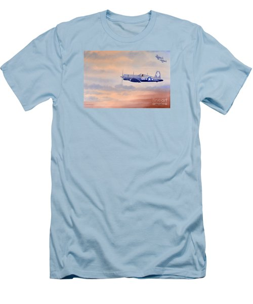 Men's T-Shirt (Slim Fit) featuring the painting Vought F4u-1d Corsair Aircraft by Bill Holkham