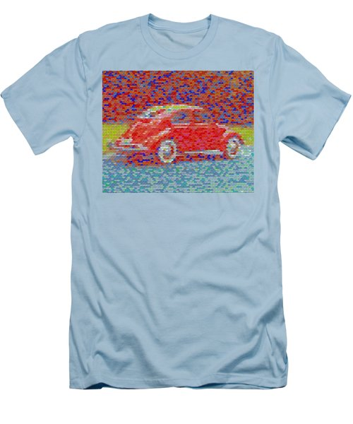 Men's T-Shirt (Slim Fit) featuring the digital art Vw Bug Pez Mosaic by Paul Van Scott