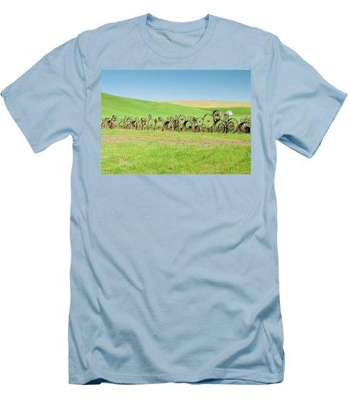 Wagon Wheels Stacked Palouse Washington Men's T-Shirt (Slim Fit) by James Hammond