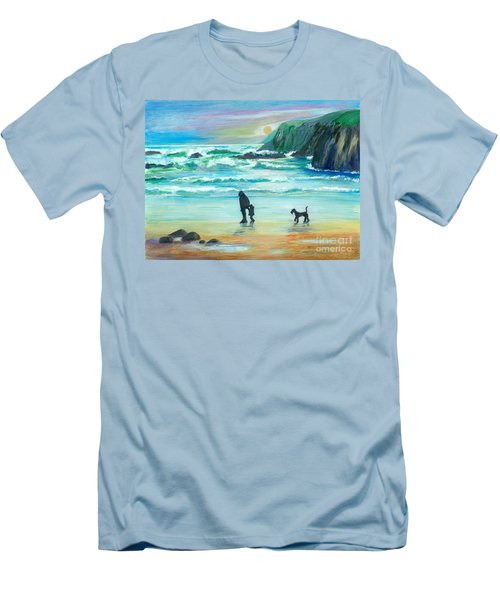Walking With Grandpa - Painting Men's T-Shirt (Slim Fit) by Veronica Rickard