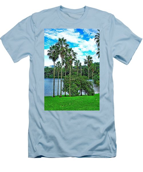 Waokele Pond Palms And Sky Men's T-Shirt (Athletic Fit)