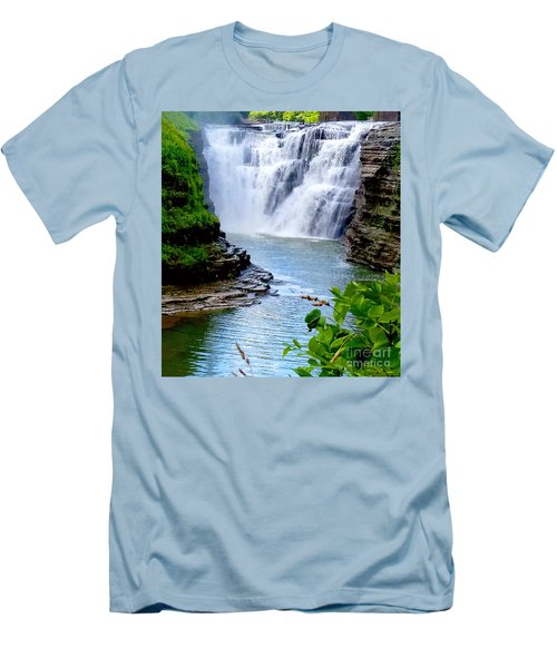 Water Falls Men's T-Shirt (Slim Fit) by Raymond Earley