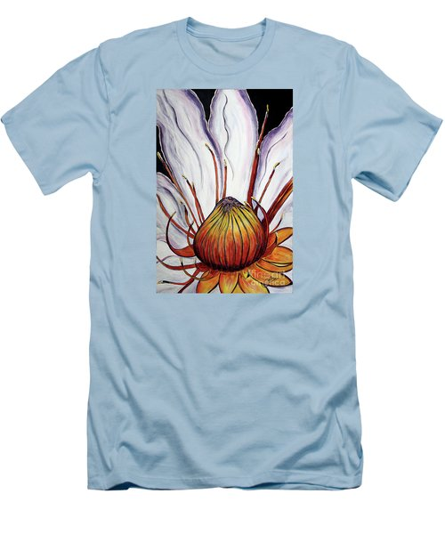 Men's T-Shirt (Slim Fit) featuring the painting Water Lilly  by Jolanta Anna Karolska
