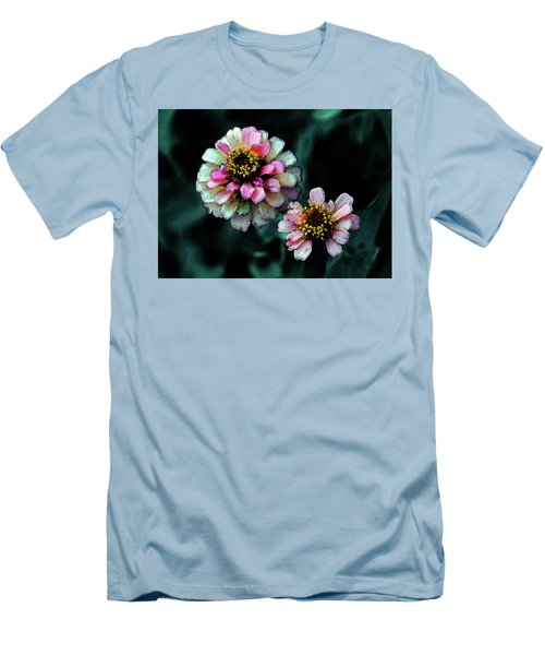 Watercolor Pink Zinnias And Smoke 2227 W_2 Men's T-Shirt (Athletic Fit)