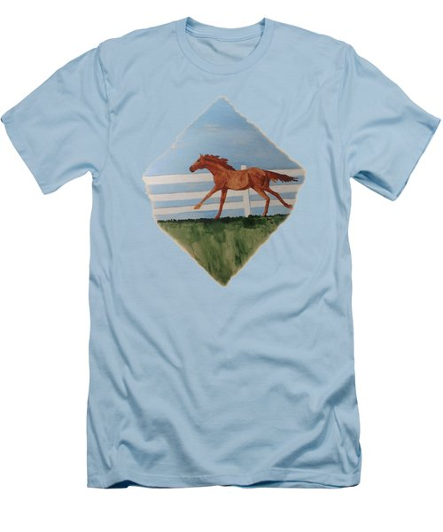 Watercolor Pony Men's T-Shirt (Slim Fit) by Joyce Wasser