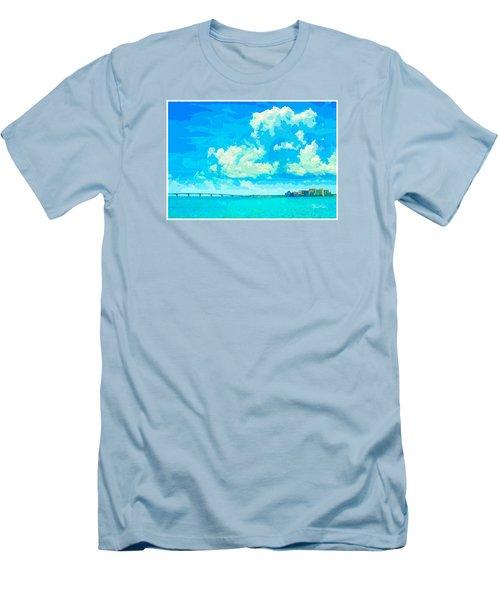 Watercolor Spring On Sarasota Bay Men's T-Shirt (Slim Fit) by Susan Molnar
