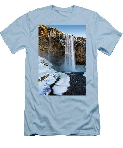 Waterfall Seljalandsfoss Iceland In Winter Men's T-Shirt (Slim Fit) by Matthias Hauser