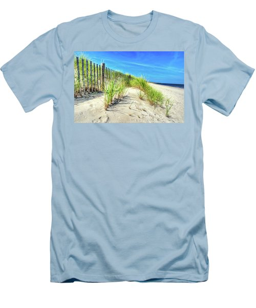 Men's T-Shirt (Athletic Fit) featuring the photograph Waterfront Sand Dune And Grass by Gary Slawsky