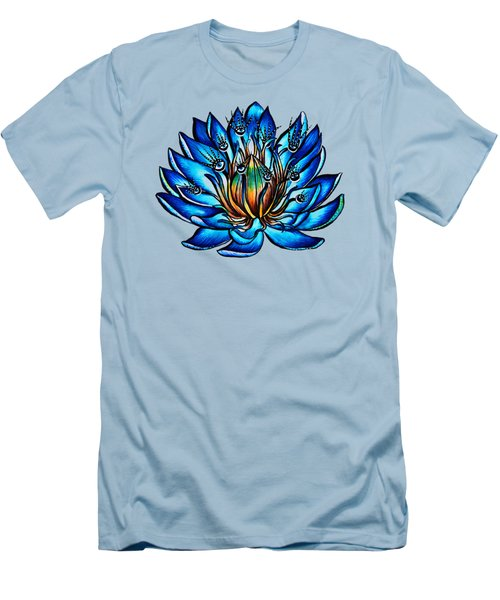Weird Multi Eyed Blue Water Lily Flower Men's T-Shirt (Athletic Fit)