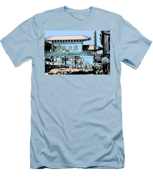 Welcome To Chinatown Sign Blue Men's T-Shirt (Slim Fit) by Marianne Dow