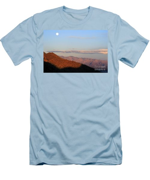 When The Mountains Turn Pink... Men's T-Shirt (Slim Fit) by Paula Guttilla