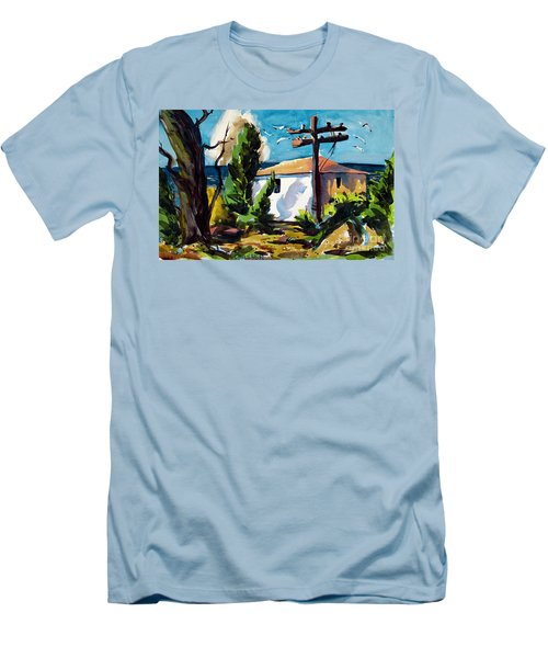 Men's T-Shirt (Slim Fit) featuring the painting Where I Will Be Double Matted And Plexi-glass Metal Framed by Charlie Spear