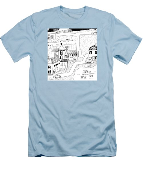 Men's T-Shirt (Slim Fit) featuring the painting Whimsy Town by Lou Belcher