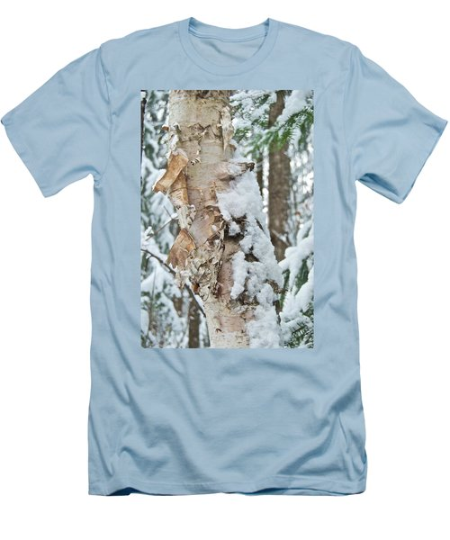 White Birch With Snow Men's T-Shirt (Slim Fit) by Michael Peychich