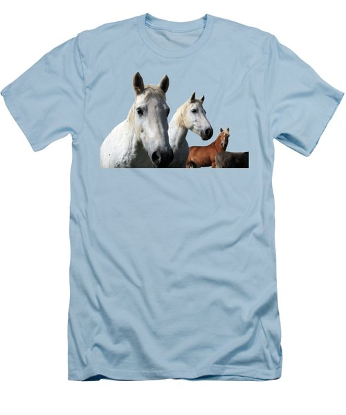 White Camargue Horses Men's T-Shirt (Athletic Fit)