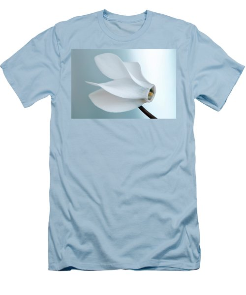Men's T-Shirt (Slim Fit) featuring the photograph White Cyclamen. by Terence Davis