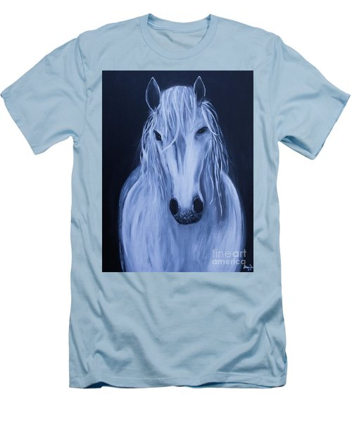 Men's T-Shirt (Slim Fit) featuring the painting White Horse by Stacey Zimmerman