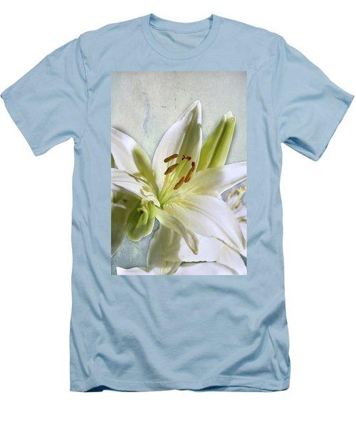 White Lilies On Blue Men's T-Shirt (Slim Fit) by Jacqi Elmslie