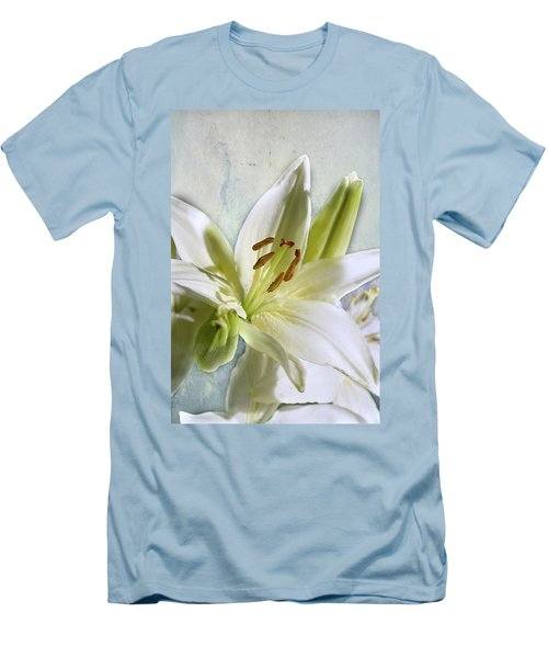 White Lilies On Blue Men's T-Shirt (Athletic Fit)