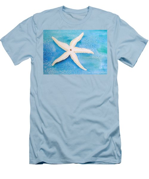 Men's T-Shirt (Slim Fit) featuring the painting White Starfish by Patricia Piffath