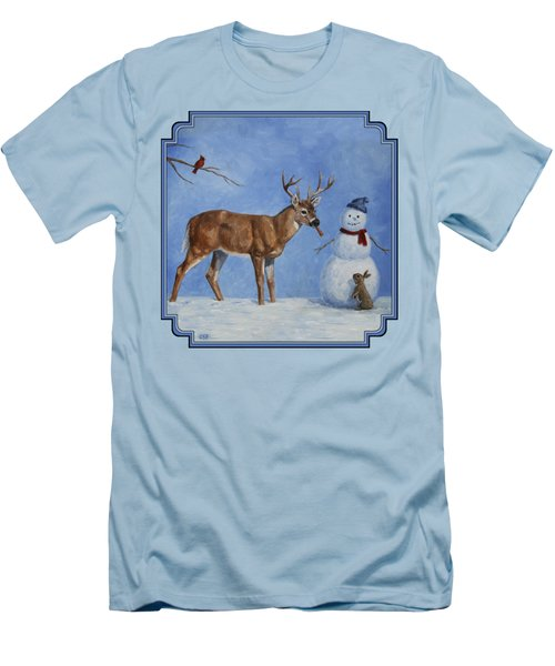 Whitetail Deer And Snowman - Whose Carrot? Men's T-Shirt (Slim Fit) by Crista Forest