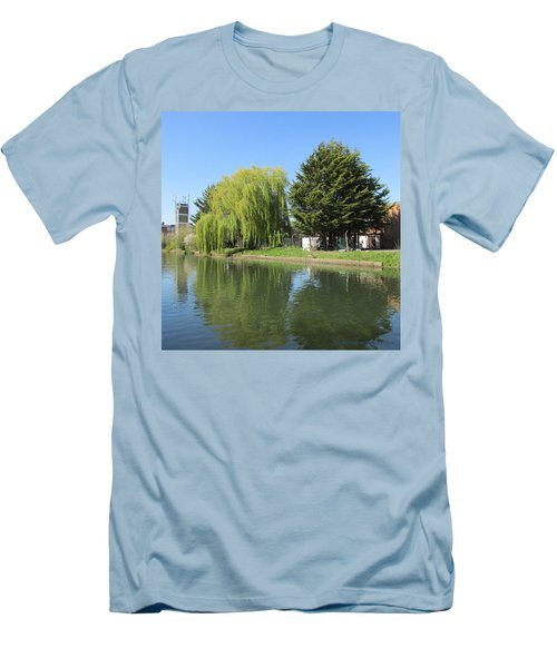 Men's T-Shirt (Slim Fit) featuring the photograph Jessica Willow Likes David Pine - Grand Union Canal - Park Royal  by Mudiama Kammoh