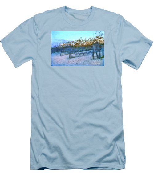 Wind Fence On Beach Men's T-Shirt (Slim Fit) by Linda Olsen
