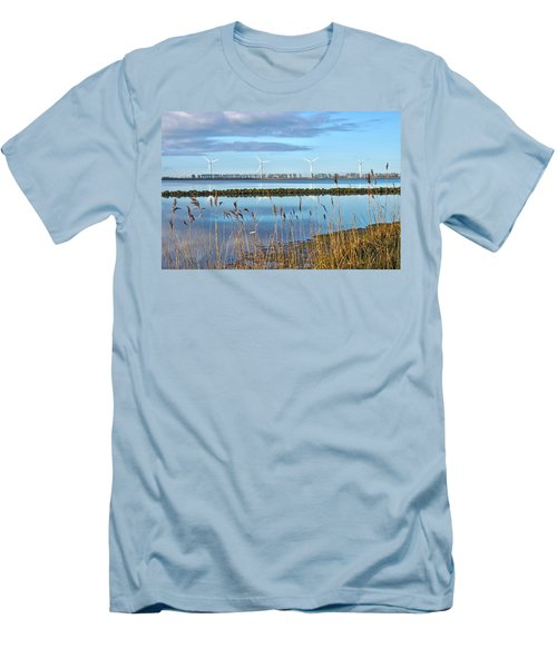 Windmills On A Windless Morning Men's T-Shirt (Slim Fit) by Frans Blok