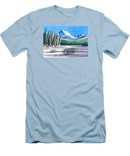 Men's T-Shirt (Slim Fit) featuring the painting Winter At Mt. Lassen by Terry Banderas