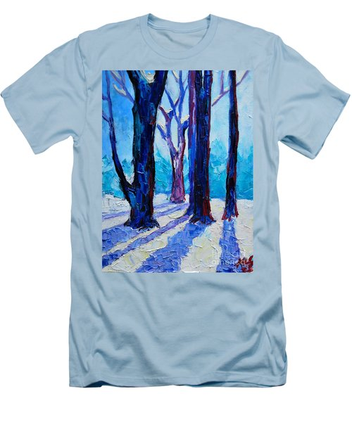 Men's T-Shirt (Slim Fit) featuring the painting Winter Impression by Ana Maria Edulescu