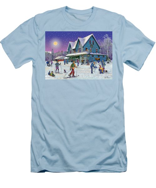 Winter In Campton Village Men's T-Shirt (Slim Fit) by Nancy Griswold